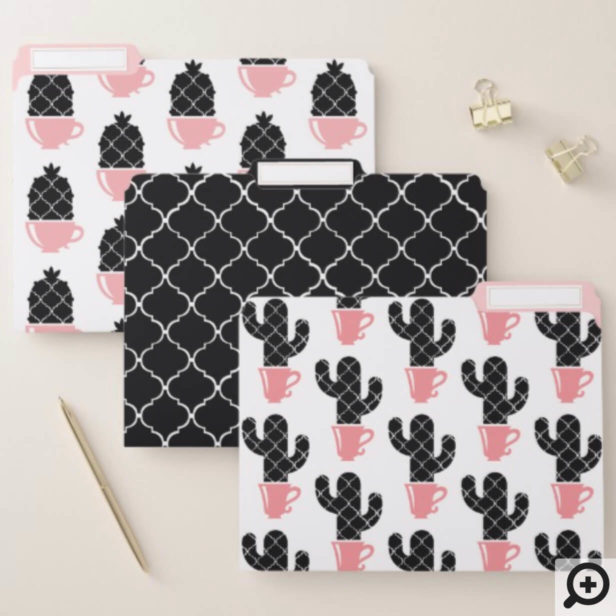 Modern Trendy Chic Teacup Arabesque Cactus Pattern File Folder