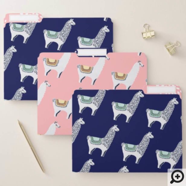 Cute Pink & Blue Stylish Modern Trendy Chic Llama File Folder