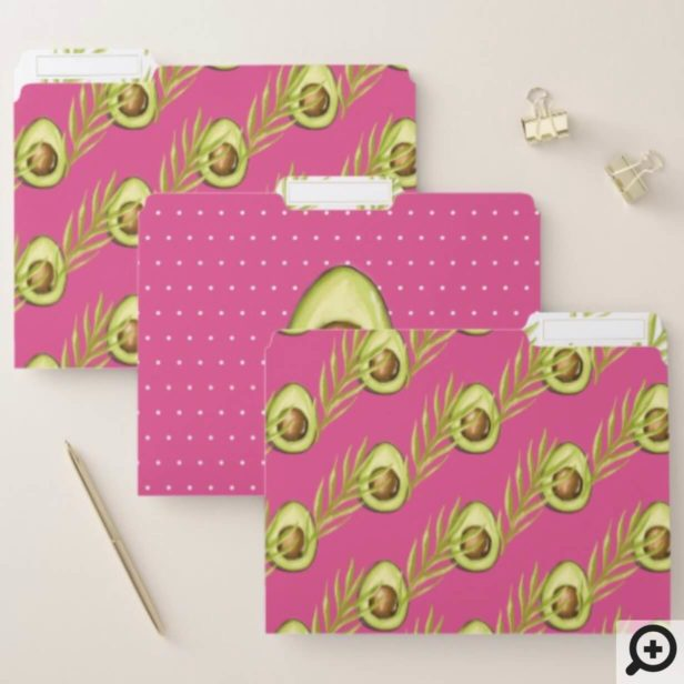 Modern Trendy Pink Tropical Leaves Avocado pattern File Folder