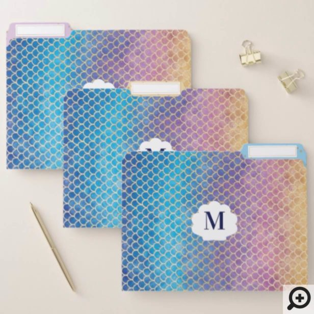 Rainbow & Gold Watercolor Mermaid Scale Pattern File Folder