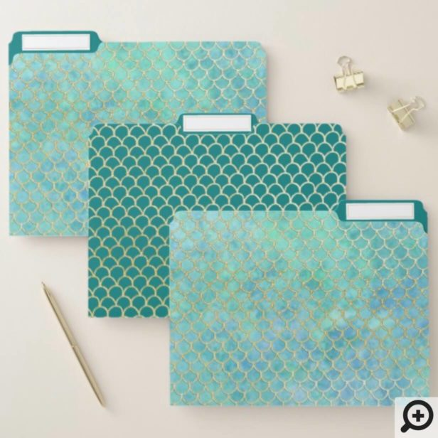 Aqua Blue & Gold Watercolor Mermaid Scale Pattern File Folder