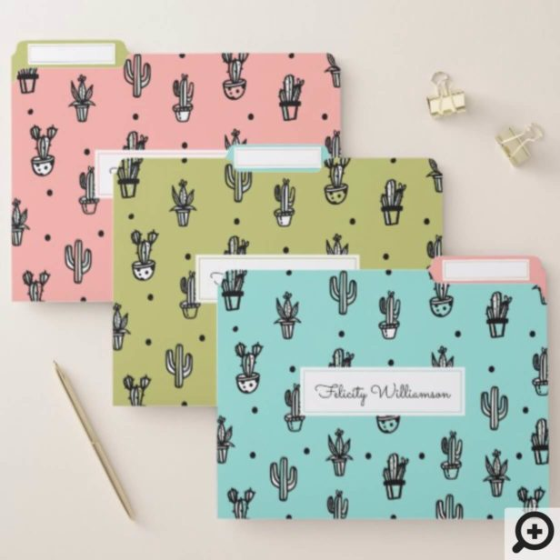 Fun, Trendy & Chic Stylish Potted Cactus Plants File Folder