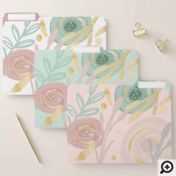 Abstract Boho Bohemian Chic Floral watercolour File Folder