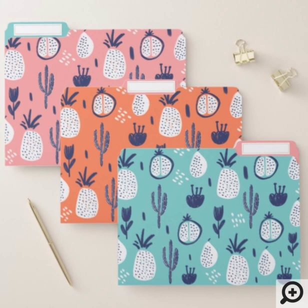 Bold Cactus, Pomegranate & Pineapple Fruit Pattern File Folder