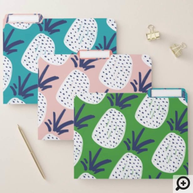 Blue Pink Green Abstract Pineapple & Cactus Print File Folder