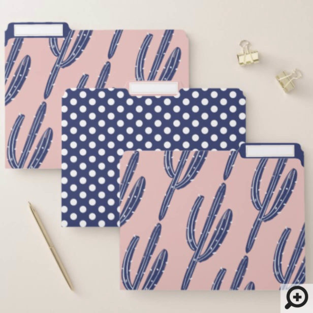 Navy Blue & Pink Polka Dot Cactus Plant Pattern File Folder