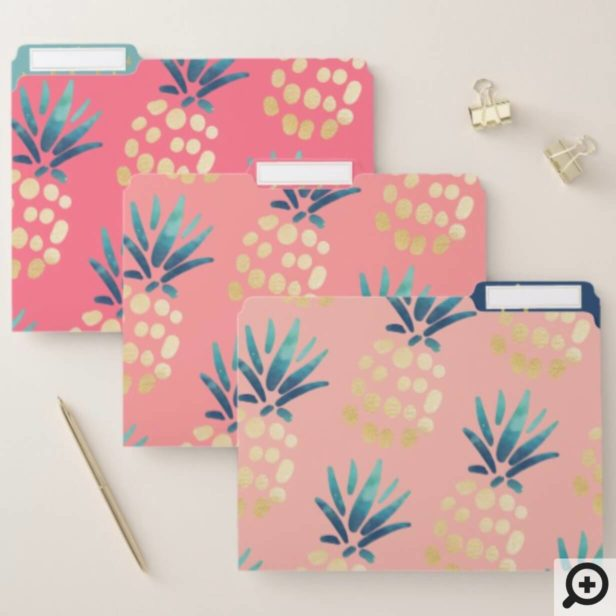 Pink, Rose & Gold Tropical Pineapple Fruit Pattern File Folder