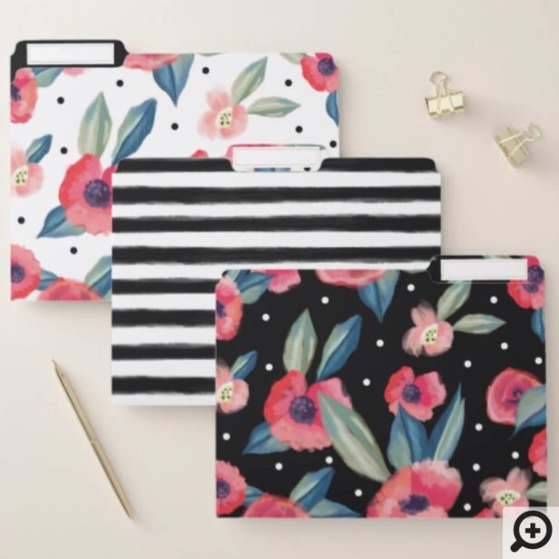 Trendy Black Stripes & Bold Red Poppy Floral Print File Folder