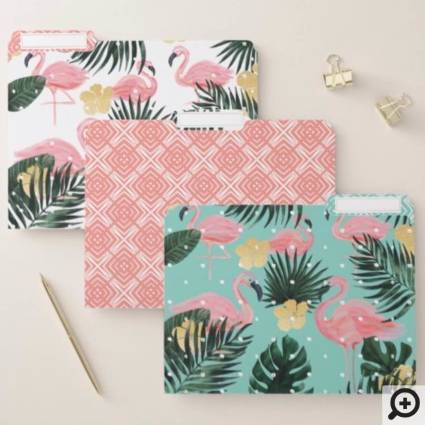 Trendy Pink & Aqua Tropical Flamingo & Palm Leafs File Folder