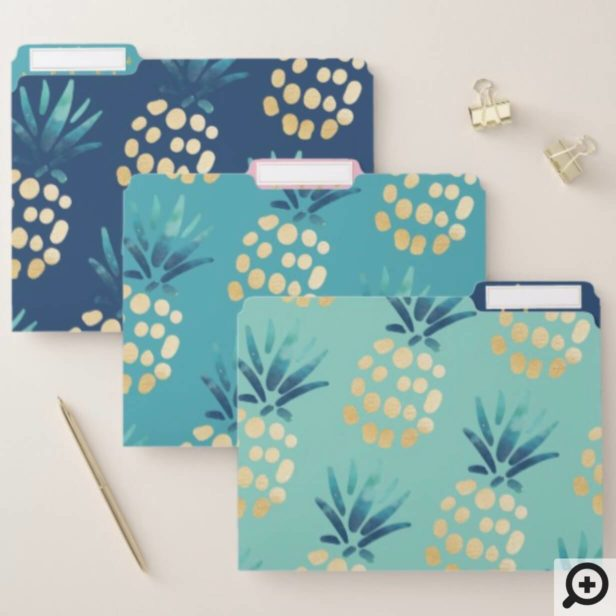 Blue, Teal & Gold Tropical Pineapple Fruit Pattern File Folder