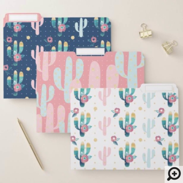Cute, Trendy, Chic & Stylish Floral Cactus Pattern File Folder