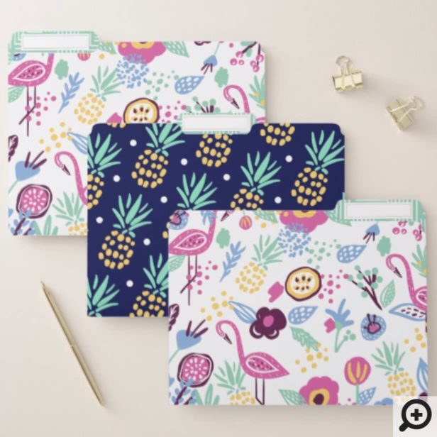Bold Trendy Tropical Florals, Flamingo & Pineapple File Folder