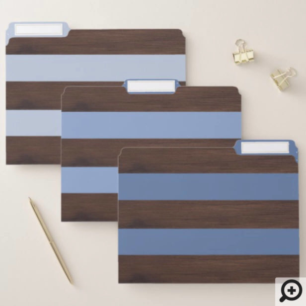 Dark Brown Wood Texture and Blue Ombre Stripes File Folder