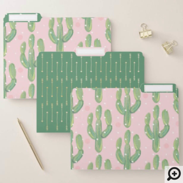 Chic Watercolor Cactus Plant Pattern Pink & Green File Folder