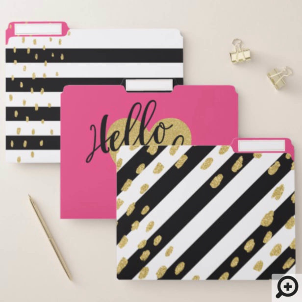 Hello Baby Bright Pink, Gold & Black White Stripes File Folder
