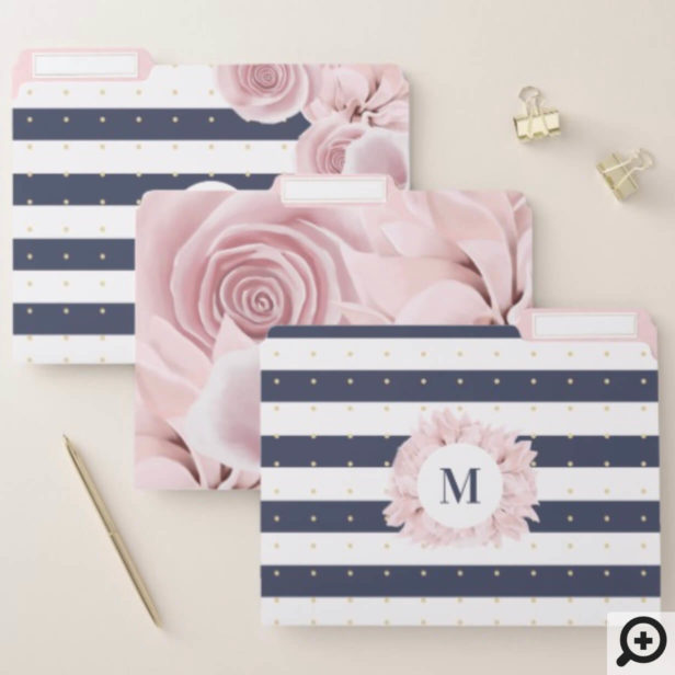 Blush Pink Rose Florals With White & Navy Stripes File Folder