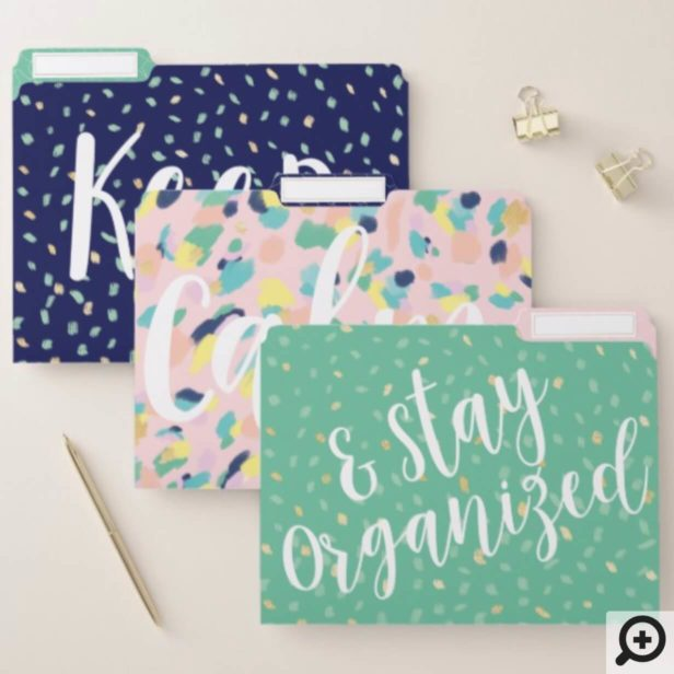 Keep Calm Stay Organized Modern Hip Animal Print File Folder