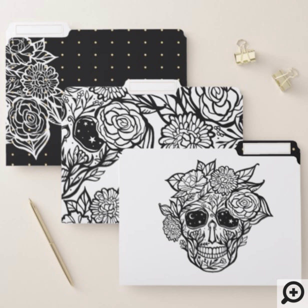Bold Line Drawn Black & White Floral Sugar Skull File Folder