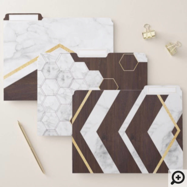Modern Honeycomb & Geometrical Marble, Wood & Gold File Folder
