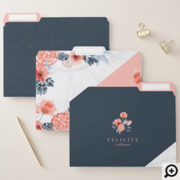 Trendy Chic Watercolour Botanical Floral & Marble File Folder