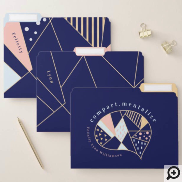 Navy, Pink, Blue, Gold Modern Abstract Geometrical File Folder