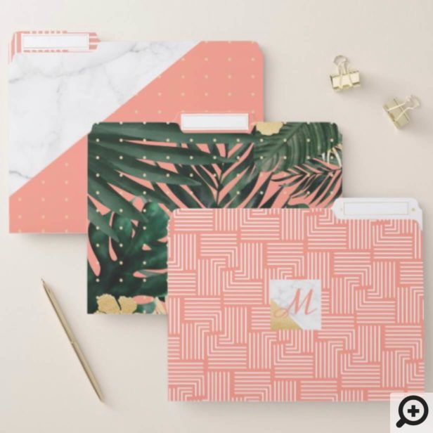 Blush Pink & Marble Tropical Palm Leaf Greenery File Folder