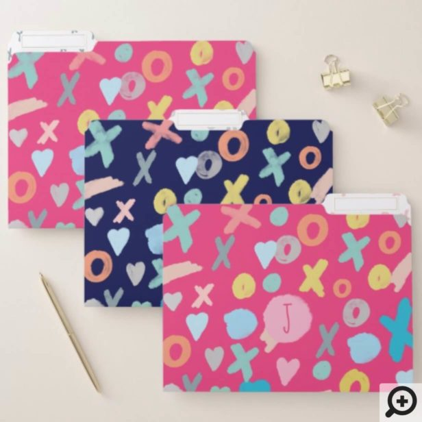 Bold Colourful Cute Girly XOXO Hugs, Love & Kisses File Folder