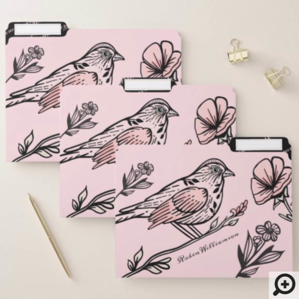 Chic Vintage Style Black & Pink Birds & Florals File Folder