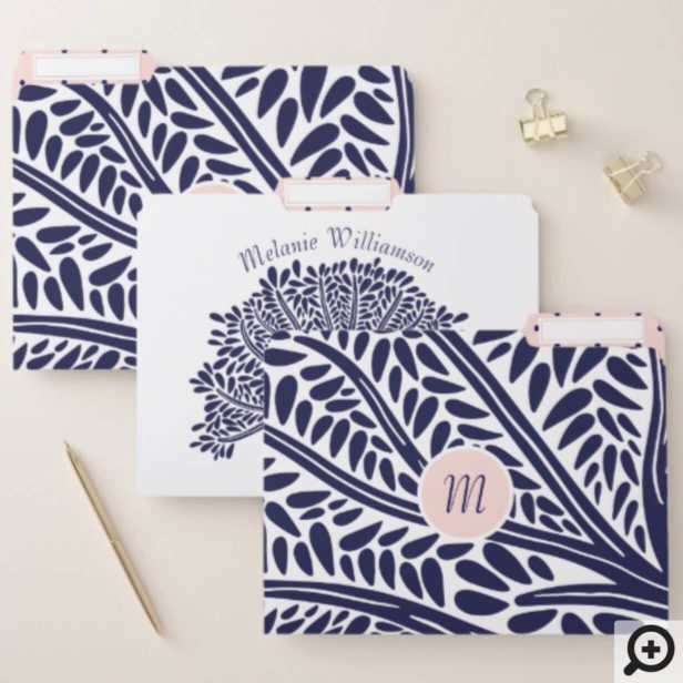 Bold, Modern Navy Blue & Pink Family Tree File Folder