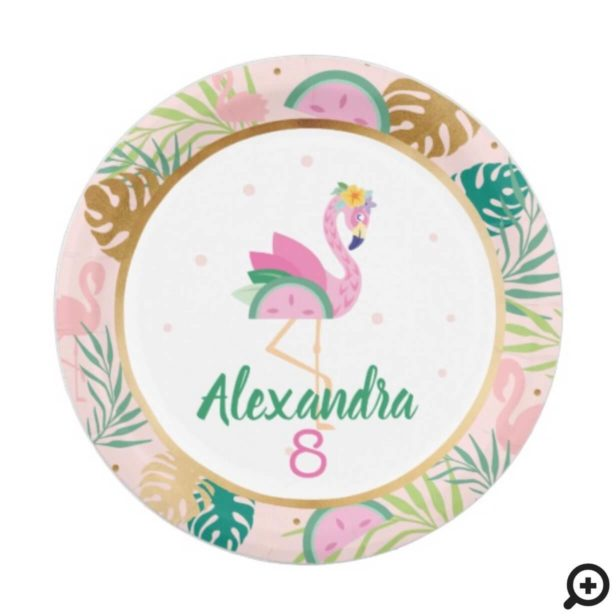 Pink Green Flamingo & Watermelon Tropical Pattern Paper Plate