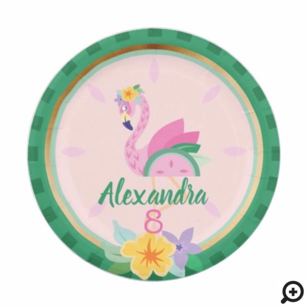 Pink Green Flamingo & Watermelon Tropical Birthday Paper Plate