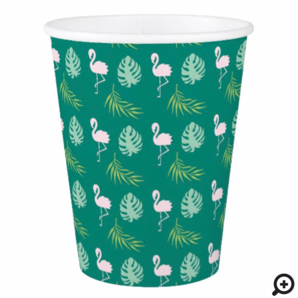 Green Pink Flamingo & Bold Tropical Leaf Pattern Paper Cup