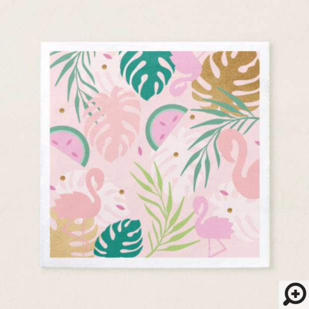 Pink Green Flamingo & Watermelon Tropical Pattern Napkin