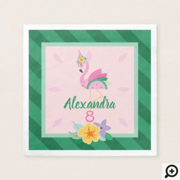 Pink Green Flamingo & Watermelon Tropical Birthday Napkin