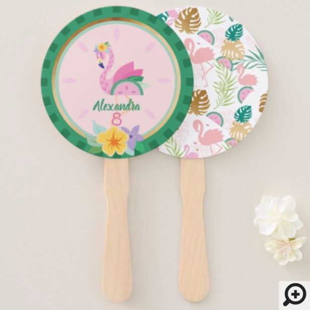 Pink Green Flamingo & Watermelon Tropical Birthday Hand Fan