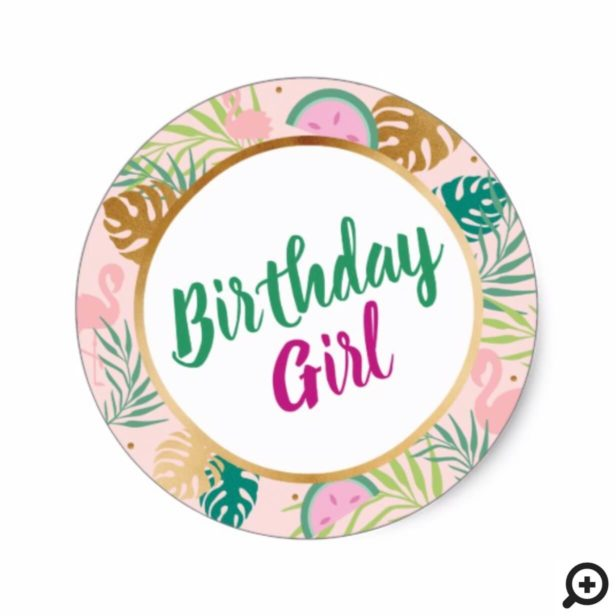 Pink, Green & Gold Watermelon Tropical Birthday Classic Round Sticker