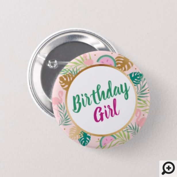 Pink, Green & Gold Watermelon Tropical Birthday Button