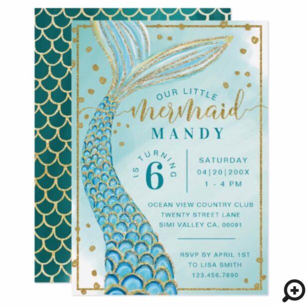 Aqua Green Gold Little Mermaid Birthday Invitation