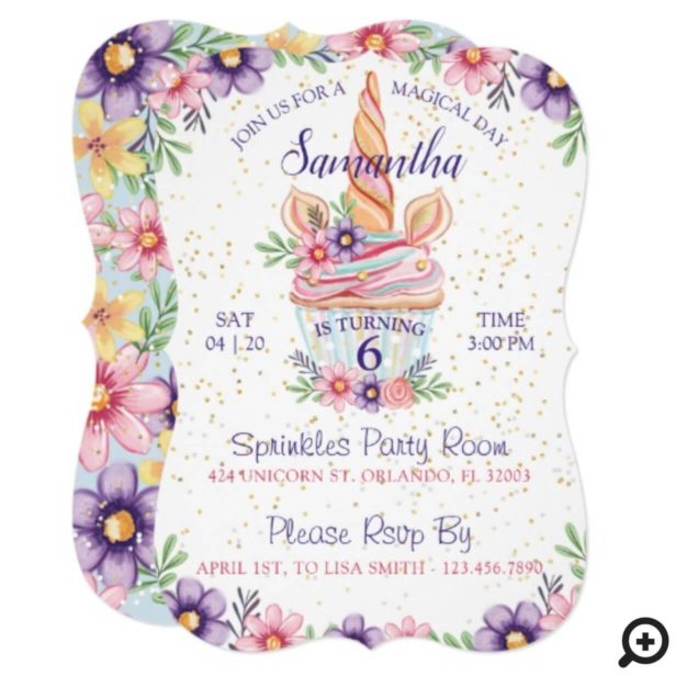 Magical Floral Unicorn Cupcake Birthday Invitation