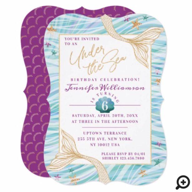 Sleek Mermaid Under The Sea Birthday Invitation