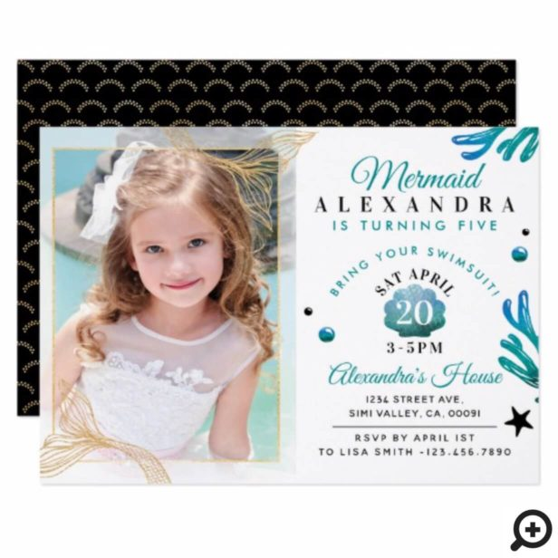 Cute Little Girl Mermaid Photo Birthday Invitation