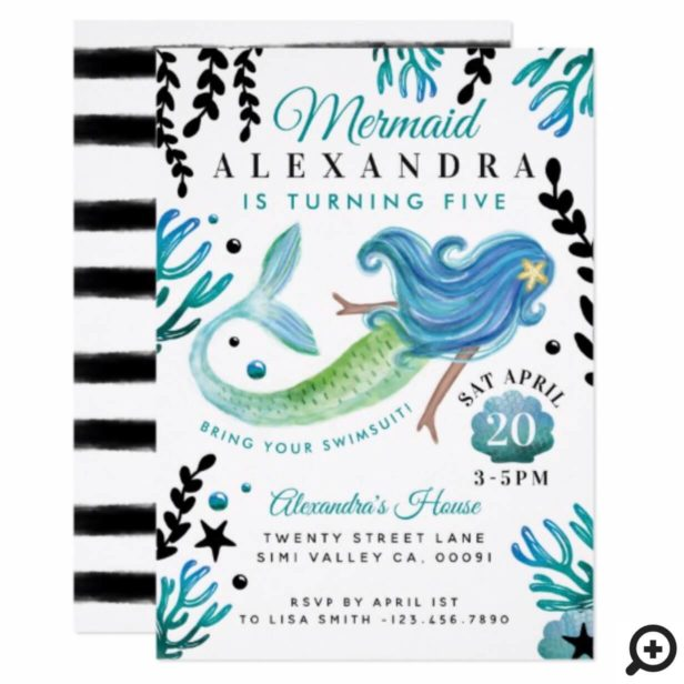 Mermaid Birthday Swimming Pool Party Invitation