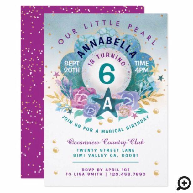 Seashell Pearl Under The Sea Birthday Invitation