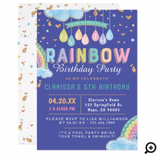 Cute Watercolor Rainbow Birthday Party Invitation