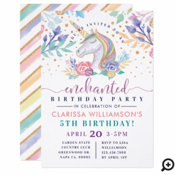 Colorful Rainbow Unicorn Birthday Party Invitation