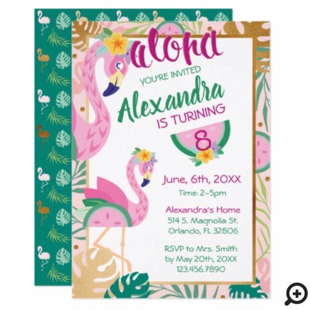 Flamingo & Watermelon Tropical Birthday Invitation
