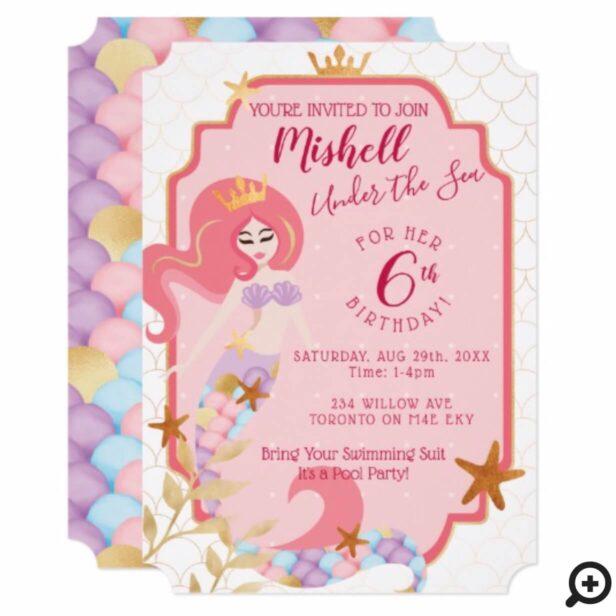 Girl's Birthday Mermaid Princess Party Invitation