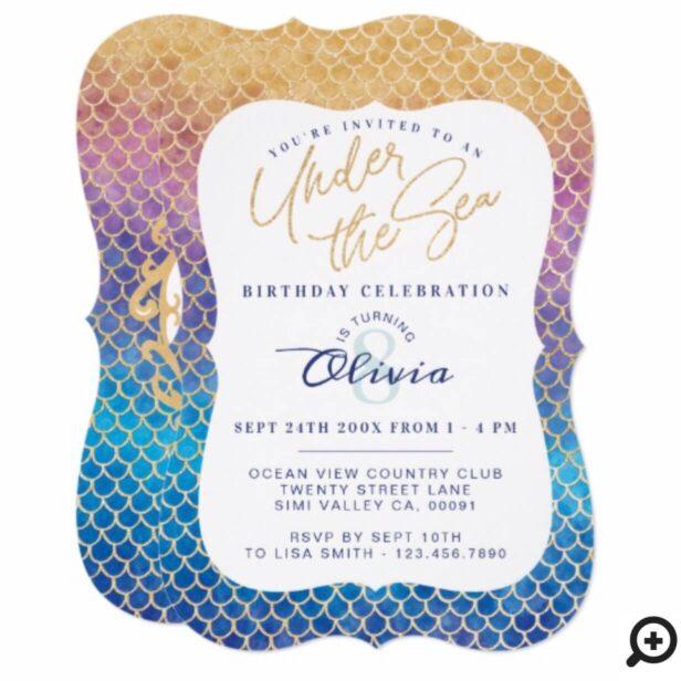 Rainbow Mermaid Scales Photo Birthday Invitation