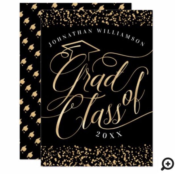 Elegant, Classy Black & Gold Grad Invitation