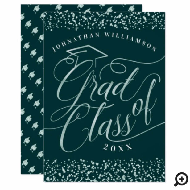 Elegant Classy Forest Green & Mint Grad Invitation